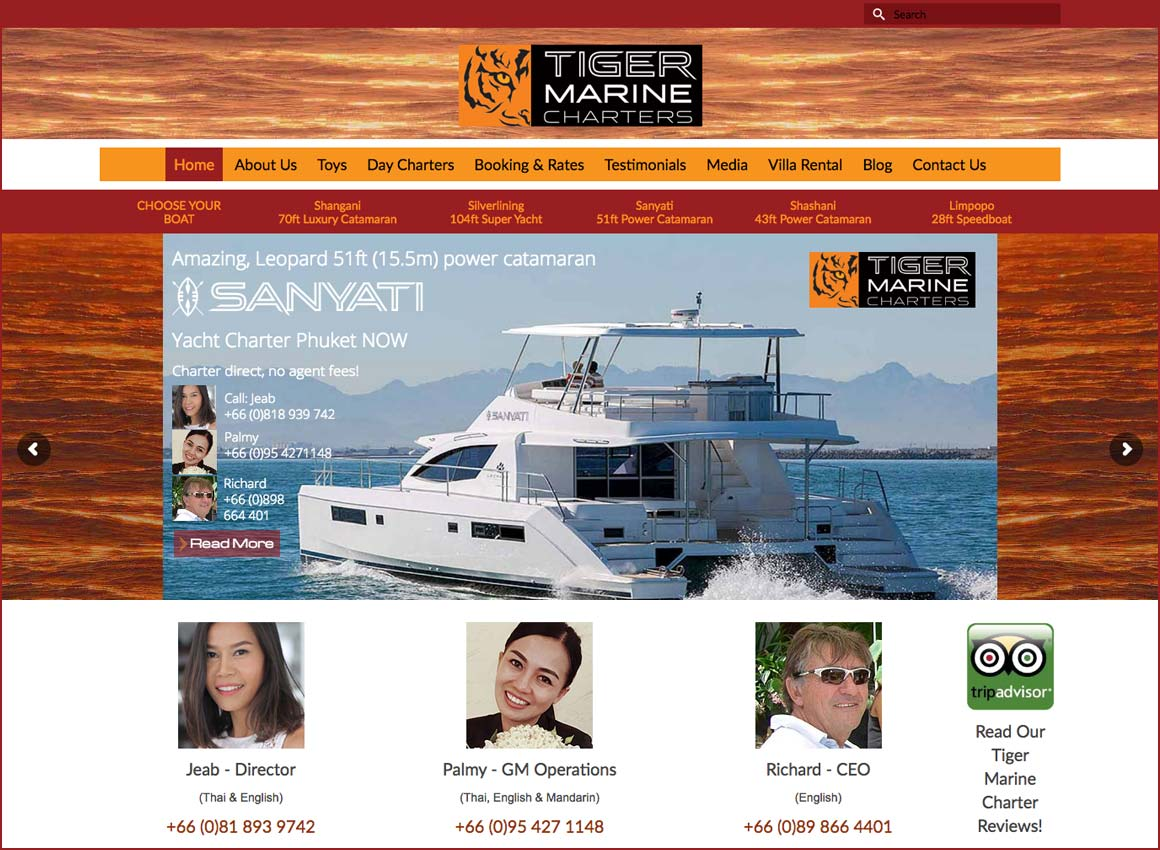 tiger marine yacht charter website design phuket