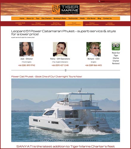 yacht hire website design phuket finflix boat listing page