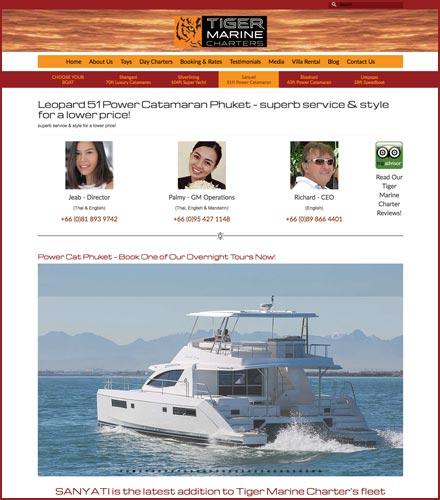 yacht hire website design phuket finflix boat listing page