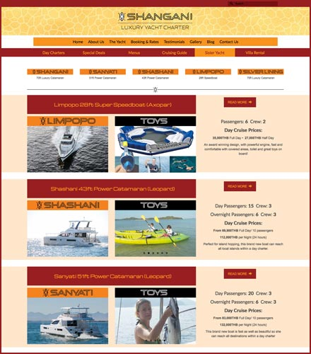 tacht charter website development phuket finflix design studio