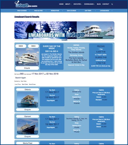 phuket website design php search results dive centre liveaboard