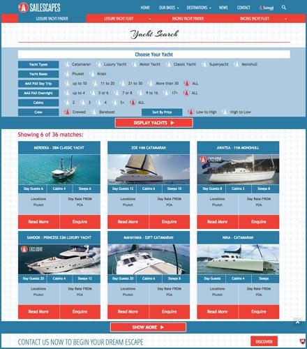 yacht charter phuket website development finflix finder filter