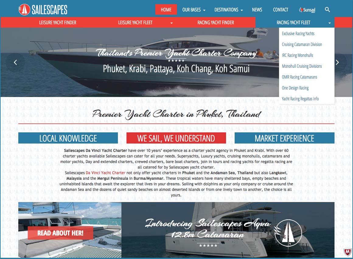 sailescapes yacht charter website design phuket finflix