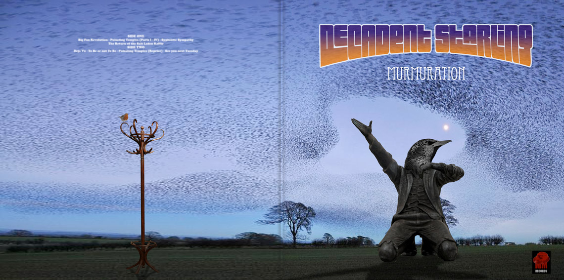 Decadent Starling Murmuration album cover classic prog rock displaying a statue with a birds head and stalins arm kneeling in a field at dusk surrounded by an undulating mass or murmer of starlings with a hatstand on the reverse an which is seated a single robin featuring the MM records Logo